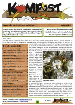 Strakonický měsíčník o ochraně přírody květen 2015 Z obsahu