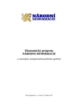 Ekonomický program NÁRODNÍ DEMOKRACIE