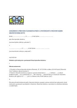 oznámení o převodu členských práv a povinností s