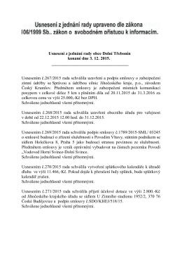 Usnesení z jednání rady obce Dolní Třebonín konané dne 3. 12. 2015.