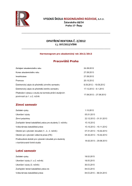 Harmonogram pro akademický rok 2012/2013