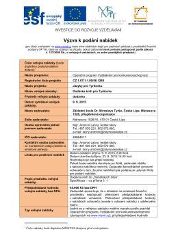 Výzva k podání nabídek – Dodávka knih pro Tyršovku (ve formátu