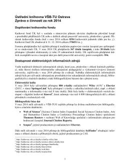 Zpráva o činnosti za rok 2014 - Technické univerzity Ostrava
