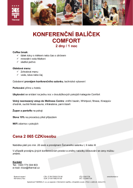 KONFERENČNÍ BALÍČEK COMFORT 2 dny / 1 noc