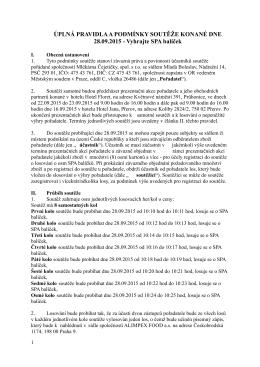 Pravidla soutěže o Lázeňský poukaz