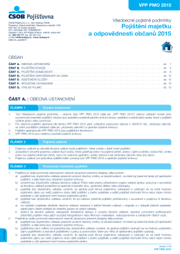 Pojištění majetku a odpovědnosti občanů 2015