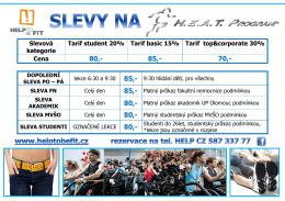Slevová kategorie Tarif student 20% Tarif basic 15