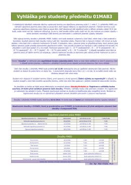 Vyhláška pro studenty předmětu 01MAB3