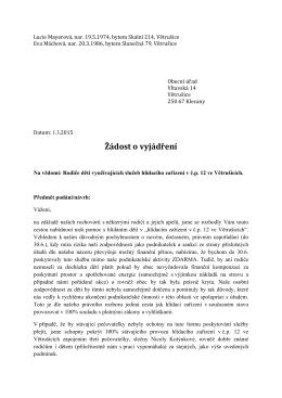 Žádost o vyjádření - DetskyKlubicek.cz