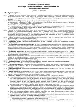 Pokyny pro poskytování podpor Podpůrným a garančním rolnickým