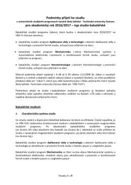 Podmínky přijímacího řízení pro bakalářské studium - USP - VŠB-TUO