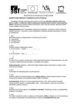 SUBSTITUČNÍ DERIVÁTY KARBOXYLOVÝCH KYSELIN Substituční