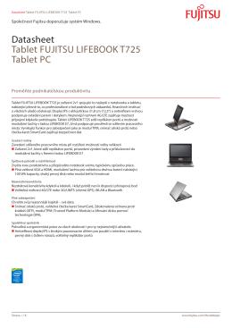 Datasheet Tablet FUJITSU LIFEBOOK T725 Tablet - Fujitsu
