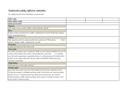 Tabulka Hodnocení půdy rýčovou metodou