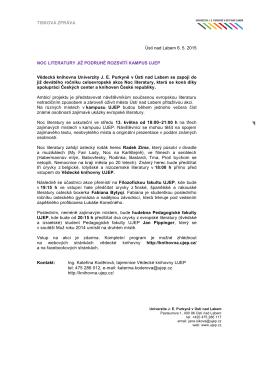TISKOVÁ ZPRÁVA Ústí nad Labem 6. 5. 2015 NOC