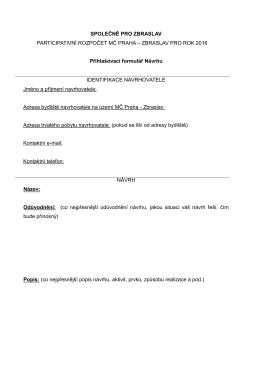 Formulář návrhu - Participativní rozpočet