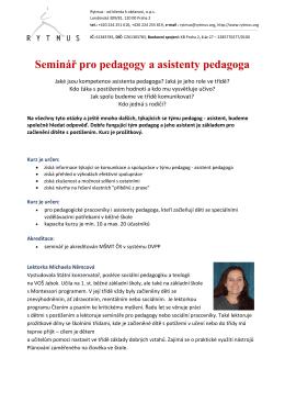 Seminář pro pedagogy a asistenty pedagoga