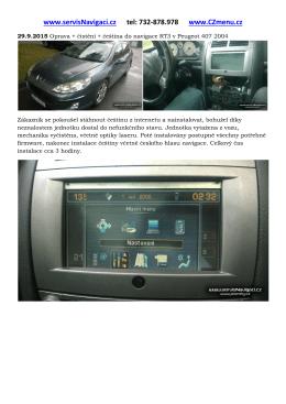 Oprava + čeština do navigace RT3 v Peugeot