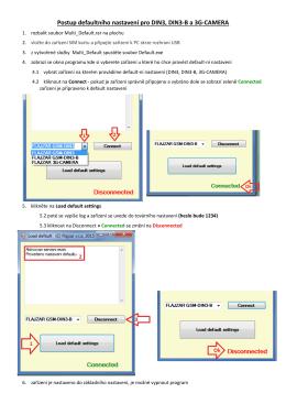 Postup defaultního nastavení pro DIN3, DIN3-B a 3G