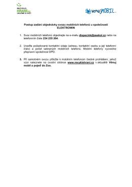 Postup zadání objednávky svozu mobilních telefonů