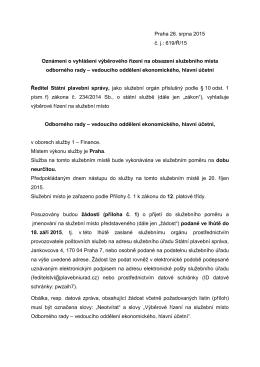 Praha 26. srpna 2015 č. j.: 619/Ř/15 Oznámení o vyhlášení