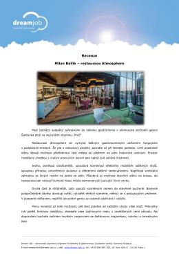 Recenze Milan Ballík – restaurace Atmosphere