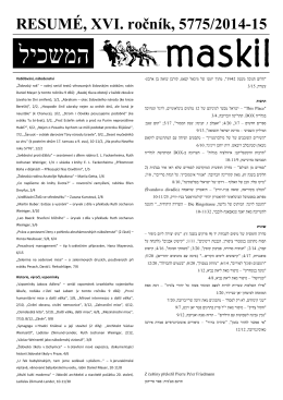RESUMÉ, XVI. ročník, 5775/2014-15