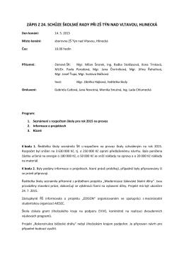 zápis z 24. schůze - Základní škola Týn nad Vltavou, Hlinecká