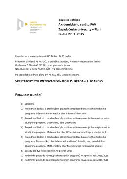 Zápis - Fakulta aplikovaných věd