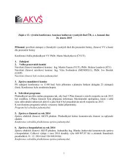 Zápis a usnesení z 13. výroční konference Asociace