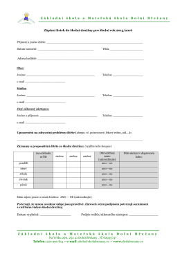 Zápisní lístek do školní družiny pro školní rok 2015/2016