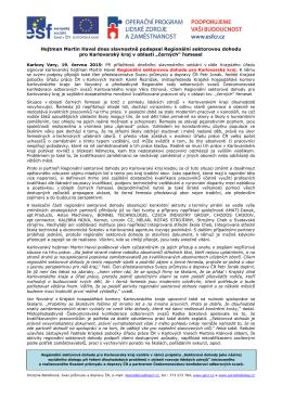 Uzavření Regionální sektorové dohody pro Karlovarský kraj
