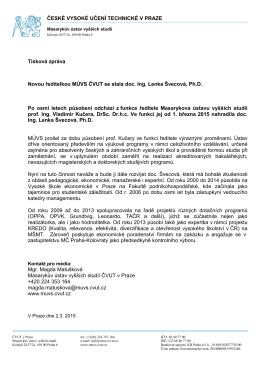 Tisková zpráva k jmenování nové ředitelky MÚVS ČVUT