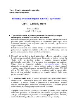 ZPR – Základy práva - Ústav řízení a ekonomiky podniku