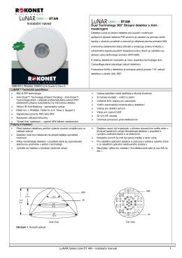 Instalační návod Dual Technology 360° Stropní detektor s Anti