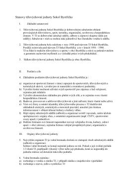 Stanovy tělovýchovné jednoty Sokol Bystřička