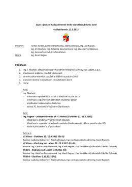 Zápis ze zasedání Rady PK starokladrubských koní a chovatelské