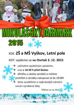 Pozvánka na Mikulášský jarmark 2015