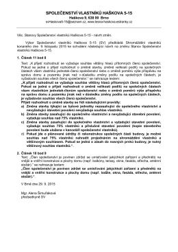 Návrh změn stavov SV 2015 - Společenství vlastníků Haškova 5