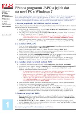 Přenos programů JAPO a jejich dat na nové PC s Windows 7 1