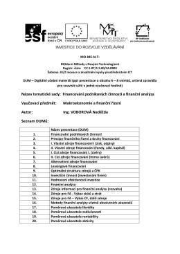 Název tematické sady: Financování podnikových činností a finanční