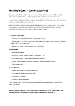 Finanční účetní – junior (Modřice)