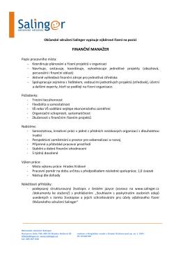 výběrové řízení na pozici finanční manažer organizace