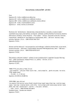 Nové přírůstky v knihovně ŽMP - září 2015 Pozn. Signatura DS