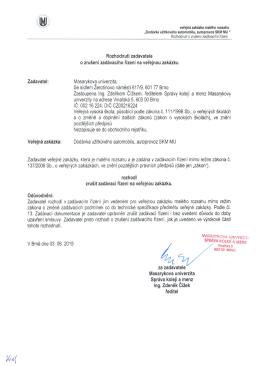 Rouzhodnutí zadavatele o zrušení zadávacího řízení