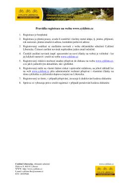 Pravidla registrace na webu www.cykliste.cz