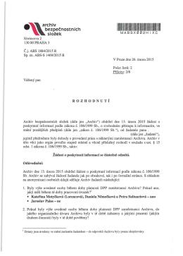 Poskytování informací podle zákona č. 106/1999 Sb., o svobodném