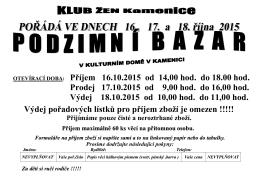 bazar 2015 – podzim
