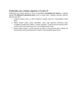 Podmínky pro získání zápočtu z Fyziky II