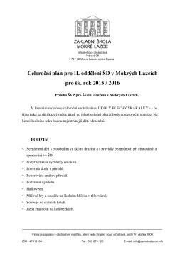 Celoroční plán pro II. oddělení ŠD v Mokrých Lazcích pro šk. rok